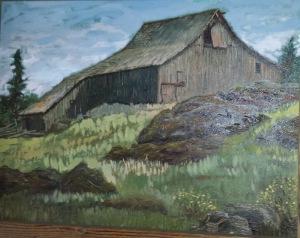Fir Oak Farm Barn Painting